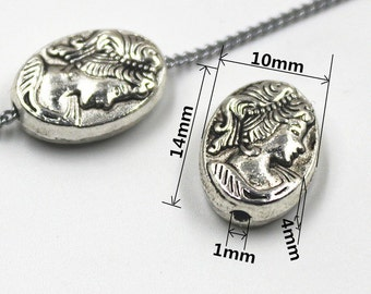 7 - Silver Cameo Beads/Charms