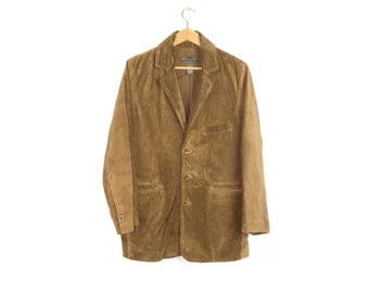 Banana Republic brown suede leather blazer jacket - mens coat size small