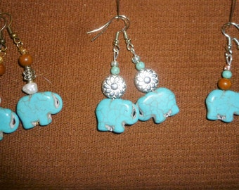 elephant turquoise earrings