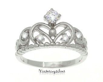 925 Sterling Silver Crown Ring,Princess Crown Ring,Princess Tiara Ring