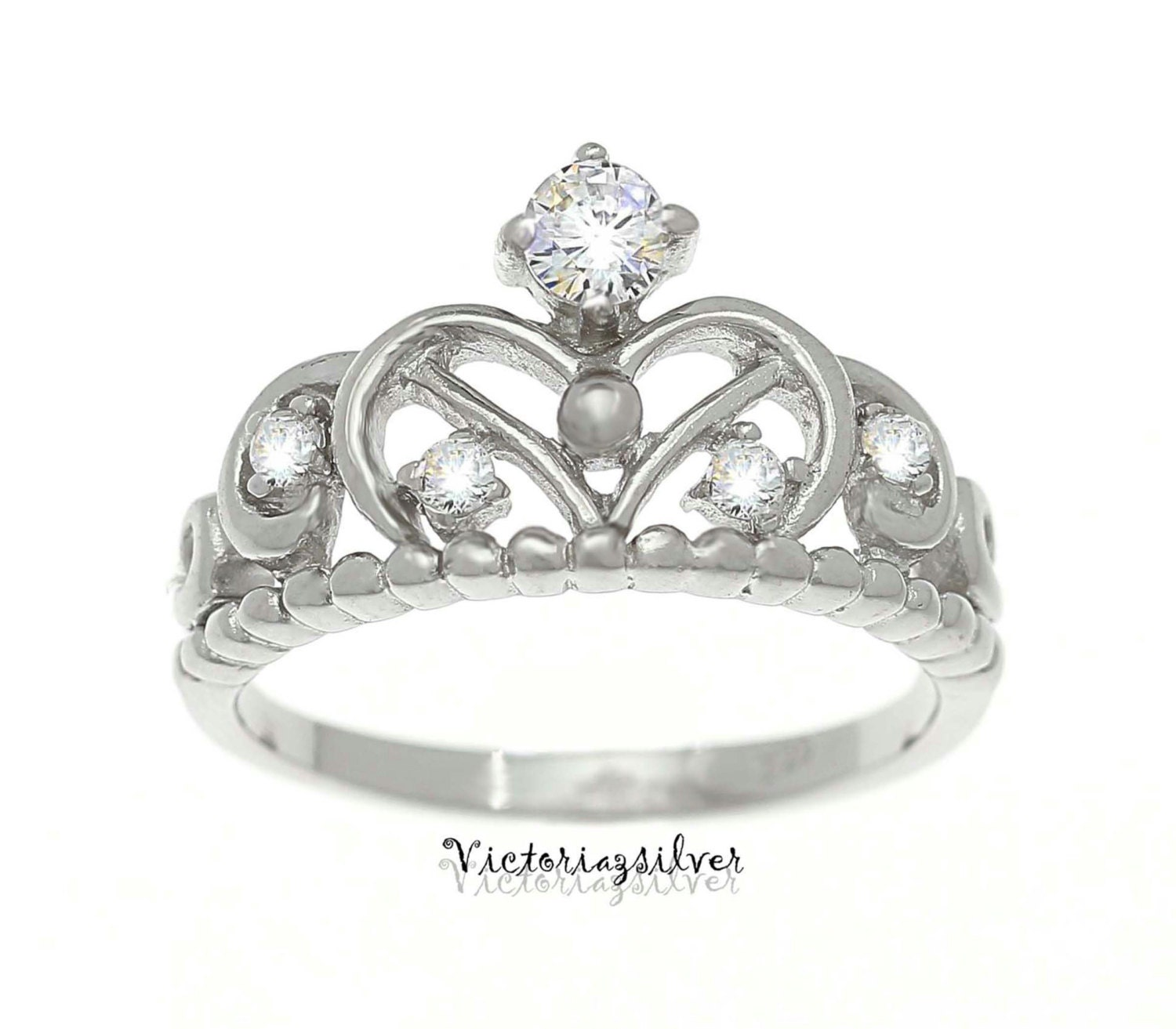 925 sterling silver crown ring princess crown ring