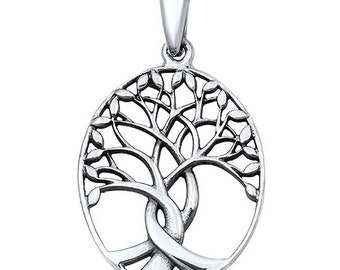 925 Sterling Silver Tree of Life Oval Pendant