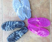 Holographic Glitter Jelly Shoes Vintage Deadstock