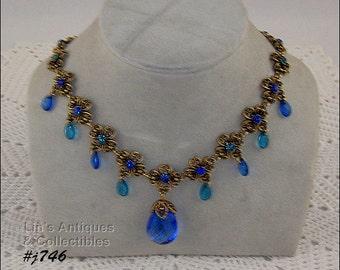 Beautiful Blue Rhinestone Necklace (Inventory #J746)