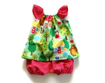 Baby girl clothes - baby top and pants - infant girl - toddler clothes - bubble shorts - fairytale top - red riding hood - baby shower gift