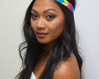Blue Yellow and Pink Boho Headband