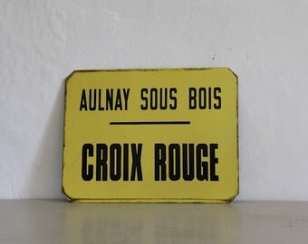 French Vintage Bus Station Sign, Parisian Transport Sign.  Croix Rouge, Red Cross