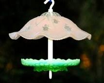 Hanging bird feeder - pink glass garden art - glass garden birdfeeder