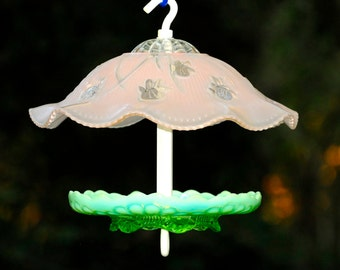 Hanging bird feeder - pink glass garden art - glass garden birdfeeder