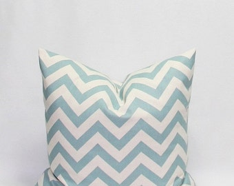 SALE Blue Pillows Chevron Pillows Blue and Natural Throw Pillow Covers Blue on Natural 18 x 18 Inches Zig Zag Village Blue