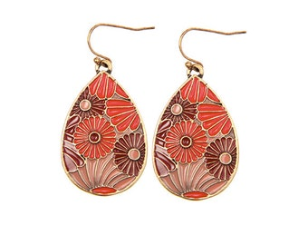 Crimson and Maroon Daisy Water Drop Earrings