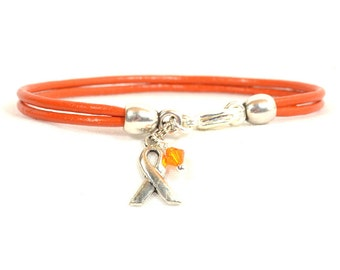 Multiple Sclerosis (MS) Awareness Bracelet - Orange Double Strand 2mm Round Bracelet with Lobster Clasp (2M-022)