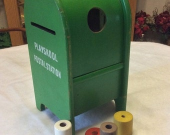 Sale 20percent off Vintage 1950's Playskool green postal station and blocks.