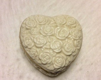 Vintage Lenox heart shaped porcelain trinket box.