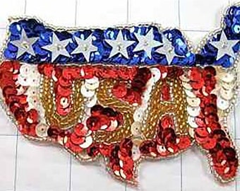 "Sale! USA Applique, Sequin Beaded 10 for 10 Dollars 4.5"" x 3""  -B166-B202-0326-0343-0271"