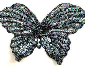"Sale! 5 Pack Butterfly Appliqué, Sequin Beaded, Choice of Color, 9"" x 6""  -B201-B292"