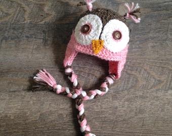 Newborn Pink Owl Photo Prop, Baby Girl Owl Hat, Crochet Owl Hat, Pink Owl Hat, Newborn Photo Prop, 6 month photo prop