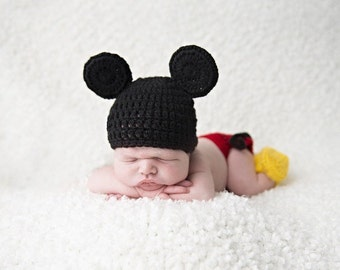 Baby Mickey Mouse, Crochet Mickey Mouse Photo Prop, Baby Boy Photo Prop