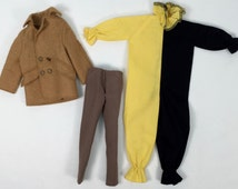 1960s Ken Doll Clothing (3 Pieces) // Pea Coat, Slacks, & Harlequin Costume // Vintage Mattel, All Marked Ken