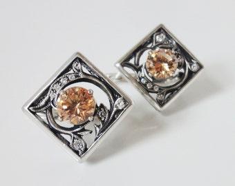 Orange Topaz Earrings - Russian Earrings with topaz - Topaz silver earrings - topaz earring  Topaz Earings Statement Earrings with gemstone