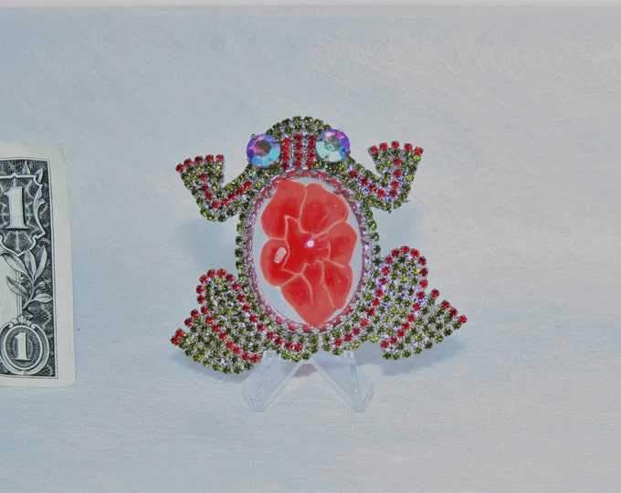 Large Rhinestone Jelly Belly FROG Pin Brooch Czechoslovakia