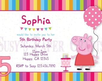 Peppa Pig Birthday Invitation, Digital File, You Print