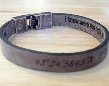FREE SHIPPING-Hidden Message Men Bracelet,Engraved Men Bracelet,Personalize Leather Bracelet,Men Leather Bangle,Custom Men Leather Bracelet