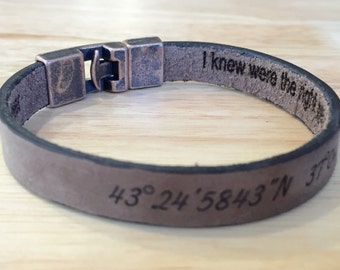 FREE SHIPPING-Hidden Message,Men Bracelet,Engraved Men Bracelet,Personalize Leather Bracelet,Bracelets for Men,Custom Men Leather Bracelet