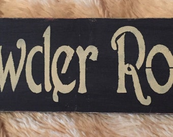 Primitive powder room sign, black and off white, bathroom signs