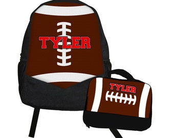 Football Backpack Lunch Bag Set - Back to School Set - Sports backpack Lunch box School Set - Matching backpack and lunch bag