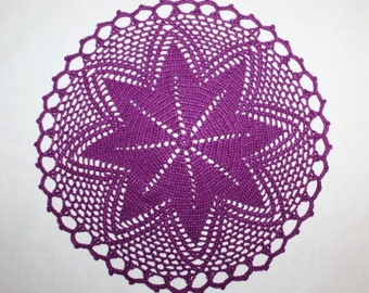 Purple Small Crochet Doily, Round Doily, Flower Doily, Crochet Centerpiece, Cotton Doily, Handmade Doily, Table Topper, 9 inches