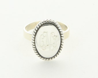 Engraved Oval Braided Sterling Silver Ring