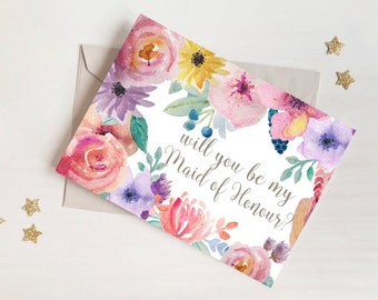 Will You Be My MAID OF HONOUR Card - Shabby Chic / Rustic / Floral / Vintage / Watercolour / Postcard Style