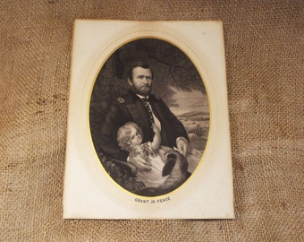 "Antique Engraving, Ulysses Grant, ""Grant in Peace"", Old Lithograph"