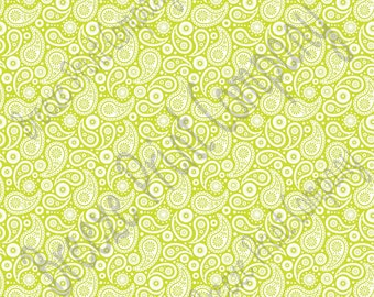Lime and white paisley pattern craft  vinyl sheet - HTV or Adhesive Vinyl -  lime green HTV1913