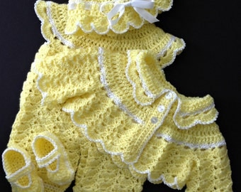 Baby Girl Yellow Going Home Outfit