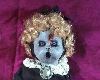 Halloween Zombie Doll, Zombie Horror Doll, Creepy Horror Doll, Halloween Decor, OOAK Dolls, Handpainted Zombie Doll, Living Dead Doll