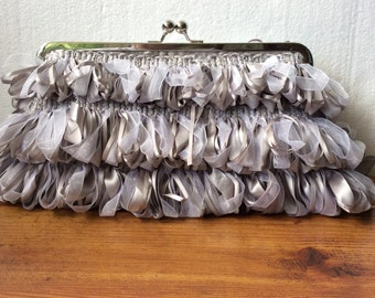 Silk and Chiffon Grey Clutch Purse Handbag