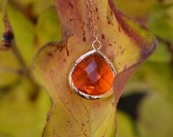 Tourmaline Teardrop Pendant Necklace, Orange Stone, Fall Necklace, Autumn Necklace