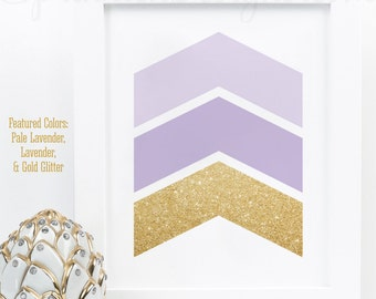 Chevron Arrows - Gallery Wall Art Print - Lavender Purple Gold Glitter Girls Room Nursery Decor, Abstract Home Decor Office Printable Sign