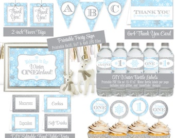 Winter Onederland Decorations - Baby Blue Silver Glitter Printables Winter Onederland Boy First Birthday Party Package Party Decorations