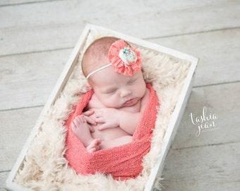 Coral headband, coral and aqua headband, aqua and coral, Easter headband, spring headband, newborn headband, flower girl headband