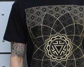 VITALITY - Men's Rythmatix Shirt - Sacred Geometry Influence - Gold Screen print