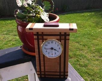 Mantel Clock, Wood Mantel Clock, Handmade