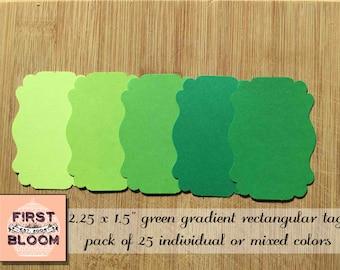 Green Die Cut Bracket Labels - Green Rectangular Bracket Labels - Rectangular Tags - Place Tags - Favor Tags - Blue Labels - Die Cut Labels