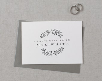 Custom I Can't Wait To Be Your Mrs., Personalised Wedding Card to Groom, Custom To My Future Husband, I Can't Wait To Marry You Card,  K9