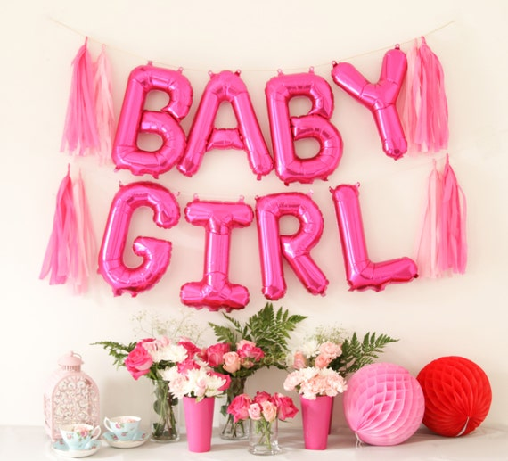 Baby girl balloon banner girl baby shower decor baby for Balloon decoration for baby girl