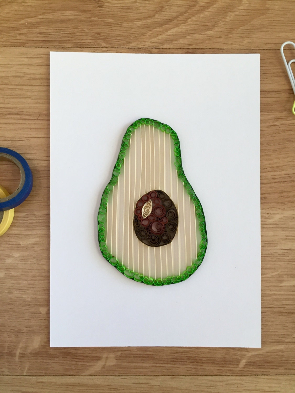 Quilling paper avocado home decor gift for foodies good gift for Quilling home decor