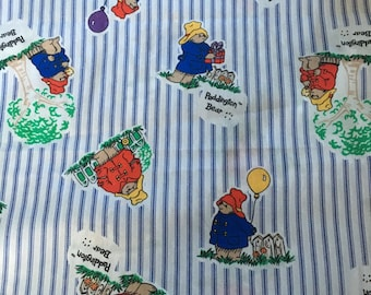 Paddington Bear cotton fabric by Eden Toys - 1995 OOP pattern Purple and White Stripes.