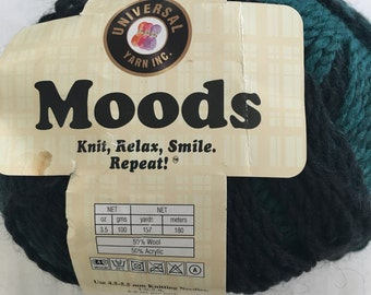 Discontinued Universal Moods yarn - Wool/Acrylic blend - Aran weight yarn color 1510 Green/Black